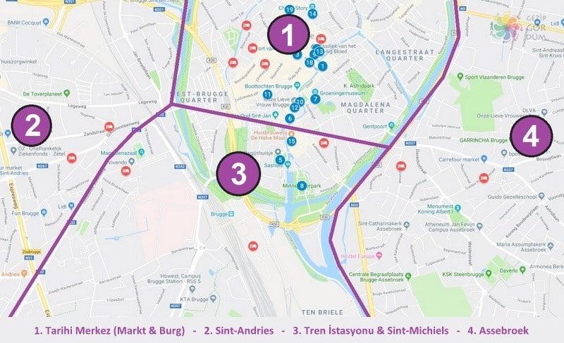 Brugge'de nerede kalınır konaklama yapılacak bölgeler