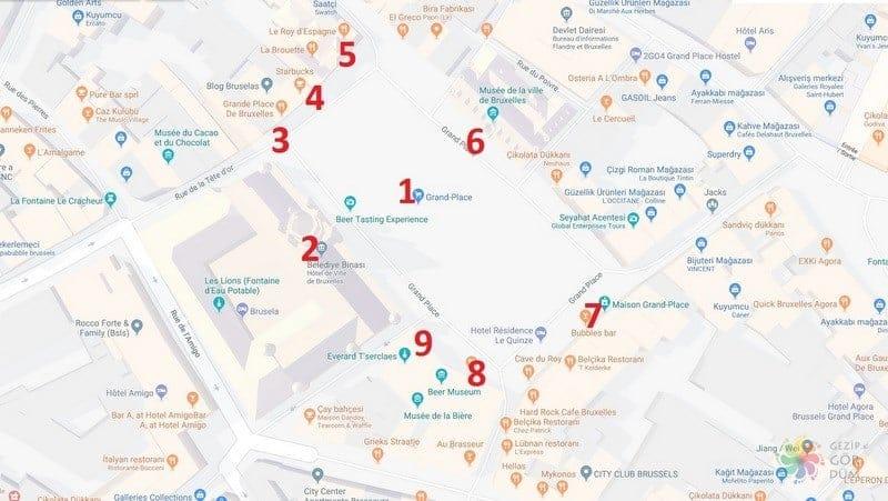 Brüksel Grand Place çevresinde gezilecek yerler